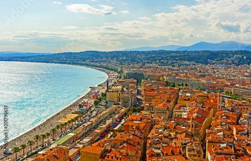 Plexiglas Nice Panoramic view of Nice, France from the Castle Hill