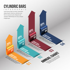 Isometric Cylinder Bar Infographic