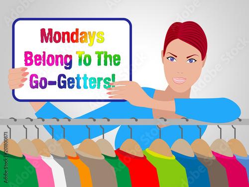Monday Sales Motivation - Saleswoman Holding Sign - 3d Illustration