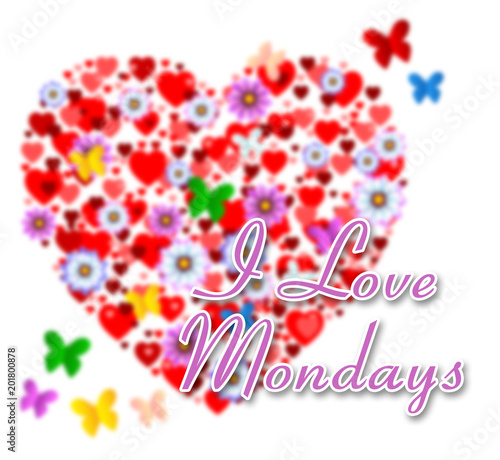 Monday Love Quotes - Flowers And Butterflies - 3d Illustration