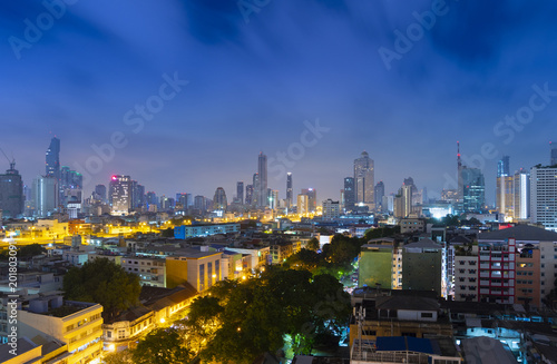 Foto Murales Bangkok city skyline with business district.
