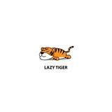 Lazy tiger sleeping icon, logo design, vector illustration