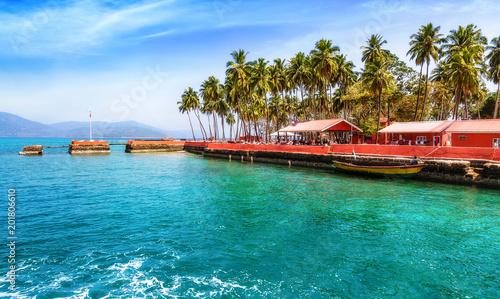 Aluminium Tropical strand Beautiful Ross Island beach bay at Andaman India.