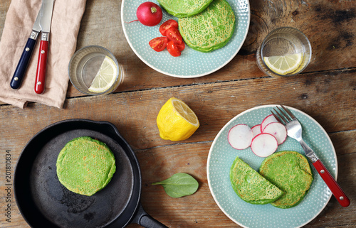 Spinach pancakes vegetables water lemon top view Healthy breakfast - 201810834