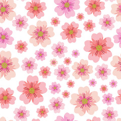 Cherry or Sakura flower seamless pattern element. Elegant texture for backgrounds. Seamless pattern with styled spring blossoms. flowering cherry, plum or sakura - seamless vector pattern