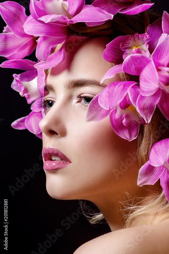 Foto Murales hairstyle of flowers
