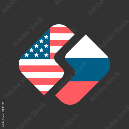 USA and Russia flags emblem