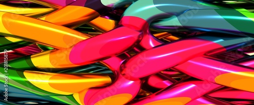 Abstract geometry background. Multicolored abstraction. 3D rendering - 201815879