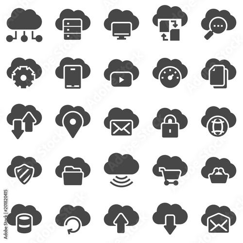 Cloud omputing. Vector illustrations icons set