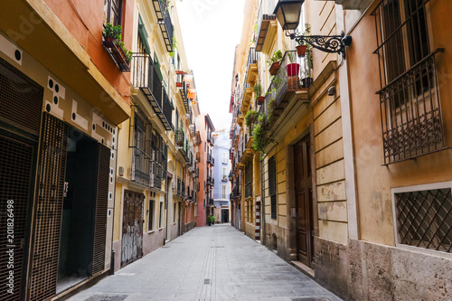 Valencia, Spain - characteristic street view in the old town - 201826498