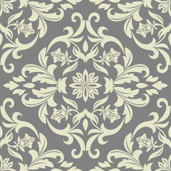Floral pattern. Wallpaper baroque, damask. Seamless vector background. Grey ornament