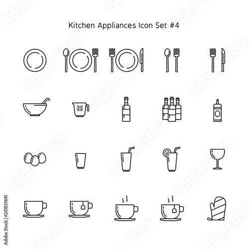 Kitchen Appliances Simple Line Icon Set Household Illustration