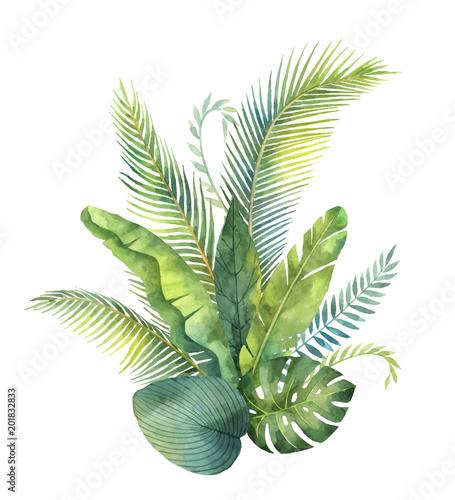 tropische-blatter-und-niederlassungen-des-aquarellvektor-blumenstrauses-lokalisiert-auf-weisem-hintergrund