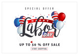 Labor day sale promotion advertising banner template decor with American flag balloons design .American labor day wallpaper.voucher discount.Vector illustration . - 201834018