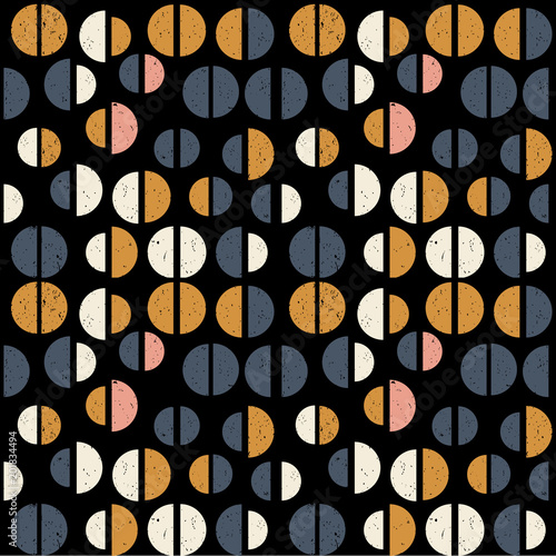 Modern vector abstract seamless geometric pattern with  semicircles in retro scandinavian style