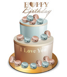 Happy birthday cake Vector realistic. Blue and golden. Anniversary, wedding, ceremony modern desserts - 201836224