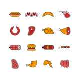 set of meat icons - 201842279