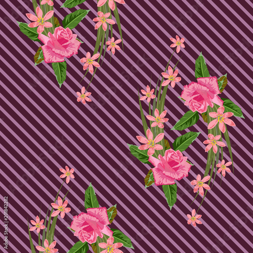 Seamless pattern with beautiful delicate roses on striped background. Flower background for textile, cover, wallpaper, gift packaging, printing.Romantic design for calico, silk. - 201842202