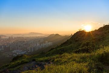Hong Kong beautiful sunset peak