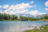 Arpy lake, Monte Bianco (Mont Blanc) in the background, Gran Paradiso National park, Aosta Valley in the Alps, Italy - 201844423