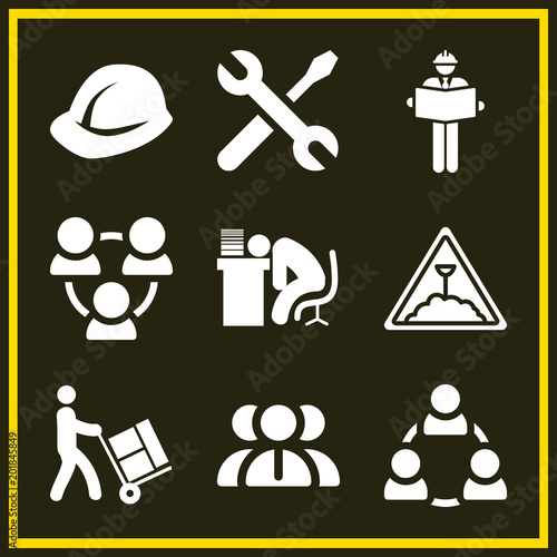 Set of 9 work filled icons