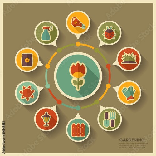 Wall mural Garden Farm icons and agriculture infographics