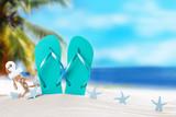 Summer concept, flip-flops, summer accessories on summer beach - 201850032
