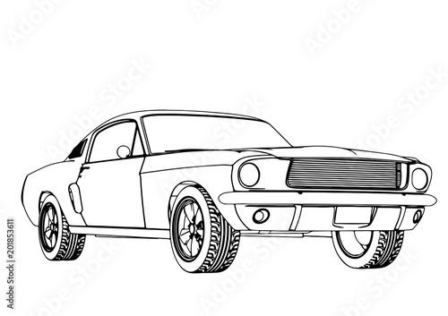 sketch of a sports car vector - 201853611