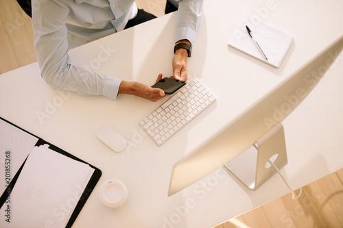 Foto Murales Top view of work table