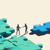 Final Piece Of The Puzzle. Two Businessmen about to shake hands over trading a jigsaw puzzle piece needed for the solution. Conceptual vector illustration.