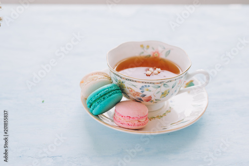 Fotobehang Macarons French dessert for served with afternoon tea or coffee break.