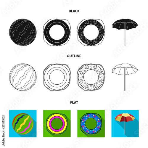 Multicolored swimming circle black,flat,outline icons in set collection for design. Different lifebuoys vector symbol stock web illustration.