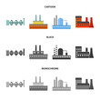 Industry, production.Factory set collection icons in cartoon,black,monochrome style vector symbol stock illustration web. - 201860296