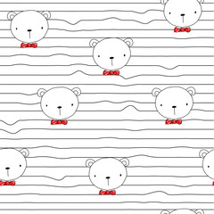 Seamless pattern with funny bear and red bow tie. Vector hand drawn illustration.
