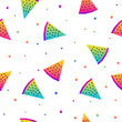 Abstract rainbow seamless pattern background. Modern swatch for birthday card, kids party invitation, shop sale wallpaper, holiday wrapping paper, fabric, bag print, t shirt,  workshop advertising - 201861804