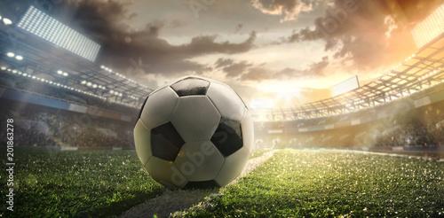 Fotobehang Voetbal Sport. Soccer ball on stadium. Football poster.