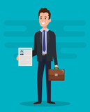 man with curriculum vitae character vector illustration design - 201871075