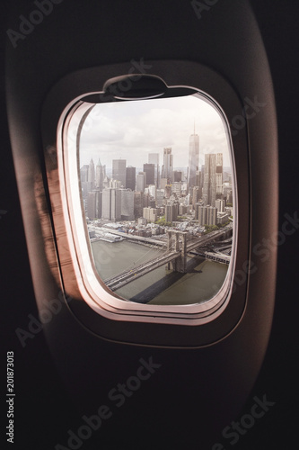 Foto Murales Airplane window New York City