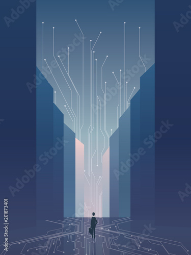 Sticker Smart city vector concept background with IT specialist, developer, programmer. Recruitment poster template with skyscrapers skyline with digital technology background.