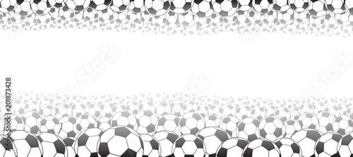 Tło piłki nożnej, położone u góry i na dole, czarne na białym tle