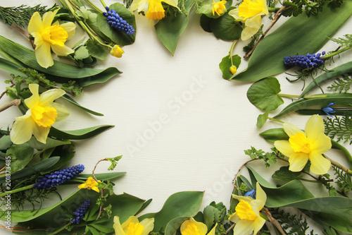 Odgórny widok zieleń liście i kwiaty