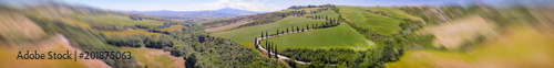 Plexiglas Toscane Amazing panoramic aerial view of Tuscany hills in spring season - Italy