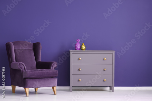 Purple living room interior