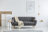 Gray couch in modern room - 201877830