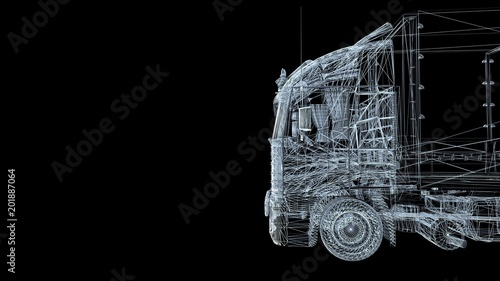 CAR TRUCK model body structure, wire model with Reflect 3d rendering	 - 201887064