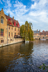 Brugge medieval historic city. Brugge streets and historic center, canals and buildings. Brugge popular touristic destination of Belgium.