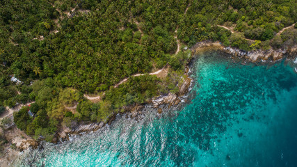 Aerial drone view of tropical island landscape and sea