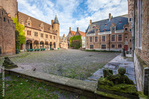 Brugge medieval historic city. Brugge streets and historic center, canals and buildings. Brugge popular touristic destination of Belgium. - 201887810