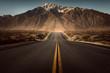 Leinwandbild Motiv Straße führt ins Gebirge