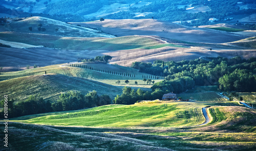 Canvas Toscane Landscape view of Val d'Orcia, Tuscany, Italy